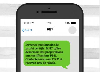 Exemple envoi SMS commercial centre de formation et certification