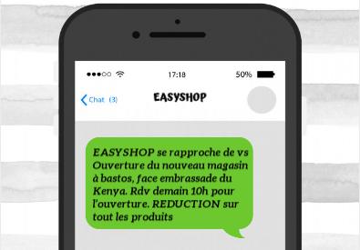 Exemple envoi SMS commercial  magasin ou supermarché ou centre commercial