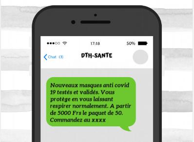 Exemple envoi SMS commercial  entreprise de vente du matériel sanitaire